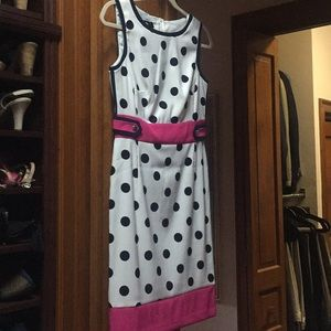 Polka dot dress with pink trim size 4 NWT